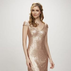 Theia Kaylee Sequin Cap Sleeve Dress